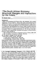"""The South African economy : structural changes and implications for the future"""