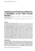 The relevance of the electoral system : a simulation of the 1992 Kenyan election
