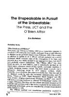 The unspeakable in pursuit of the unbeatable : the press, UCT and the O'Brien affair
