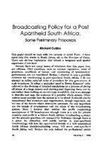 Broadcasting policy for a post apartheid South Africa : some preliminary proposals
