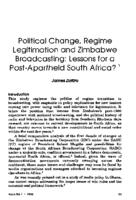 Political change, regime legitimation and Zimbabwe broadcasting : lessons for a post-apartheid South Africa?
