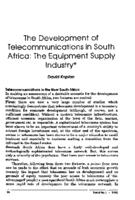 The development of telecommunications in South Africa : the equipment supply industry