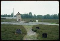 Bergen-Belsen Concentration Camp : Jewish monument with Memorial Obelisk in background