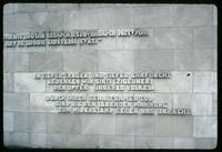 Bergen-Belsen Concentration Camp : Commemorative Wall inscription in German