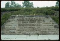 Bergen-Belsen Concentration Camp : Close-up of mass grave stone