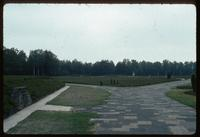 Bergen-Belsen Concentration Camp : View from Camp Monument showing mass graves