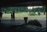 Chelmno Concentration Camp : View under memorial along axis to camp crematorium