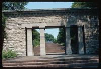 Buchenwald Concentration Camp : View from grounds back through memorial entry gate