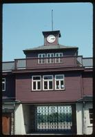 Buchenwald Concentration Camp : Close-up of main camp gate and clock tower