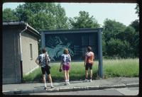 Buchenwald Concentration Camp : Tourists at camp entry sign