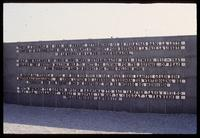 Dachau Concentration Camp : Commemorative wall inscription at memorial sculpture