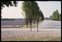 Dachau Concentration Camp : View from Catholic Chapel back to camp administrative offices