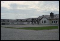 Dachau Concentration Camp : View of commemorative sculpture and admin from main gate
