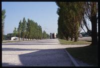 Dachau Concentration Camp : Central axis road from sculpture to commemorative chapels