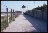 "Dachau Concentration Camp : Close-up of ""kill zone"" within fenced camp perimeter"