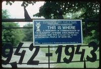 Belzec Concentration Camp : Entry gate signage in English