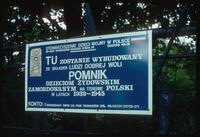 Belzec Concentration Camp : Entry gate sign in Polish
