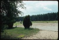 Chelmno Concentration Camp : Initial view of crematorium and adjacent commemorations