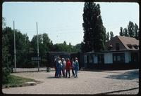 Sachsenhausen Concentration Camp : Visitors at site entry gate