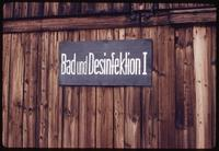 Majdanek Concentration Camp : Close-up of disinfection sign