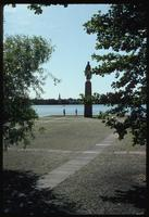 Ravensbrück Concentration Camp : View across lake from main commemorative sculpture