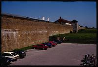 Mauthausen Concentration Camp : Mauthausen fortress walls from the visitors' parking lot
