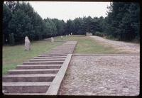 Treblinka Concentration Camp : View from memorial train platform back to site entry