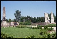 Mauthausen Concentration Camp : Memorial Garden with Austrian Memorial to the right