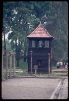 Auschwitz Concentration Camp : Guard tower along the camp perimeter fence line