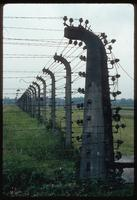 Birkenau Concentration Camp : Fencing with disembarcation rail siding to the rear