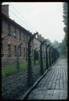 Auschwitz Concentration Camp : View along the electrified fence perimeter at the Camp 1 entry             gate