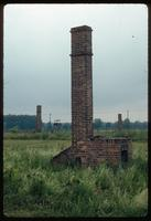 Birkenau Concentration Camp : Derelict barracks chimney in camp B1