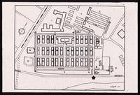 "Auschwitz Concentration Camp : Site plan of Auschwitz 1 with main gate at point ""H"""