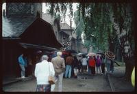 Auschwitz Concentration Camp : Tourist group at Auschwitz 1 entry gate
