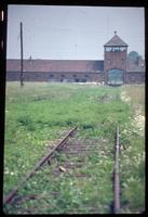 Birkenau Concentration Camp : View along rail tracks from disembarcation platform to entry gate             (1979)