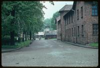 Auschwitz Concentration Camp : View of entry gate and barracks blocks along road