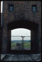 Birkenau Concentration Camp : Close-up of camp rail tracks through entry gate