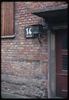 Auschwitz Concentration Camp : Close-up photo of Barracks #14 door