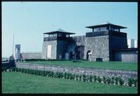 Mauthausen Concentration Camp : Main barracks area gate with sculpture