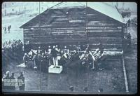 Auschwitz Concentration Camp : Camp orchestra playing at Camp 1 gate