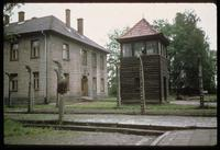 Auschwitz Concentration Camp : View from Camp 1 visitor and ticket building to on-site             guardhouse