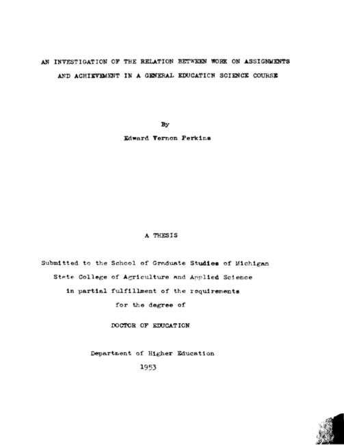 An investigation of the relation between work on assignments