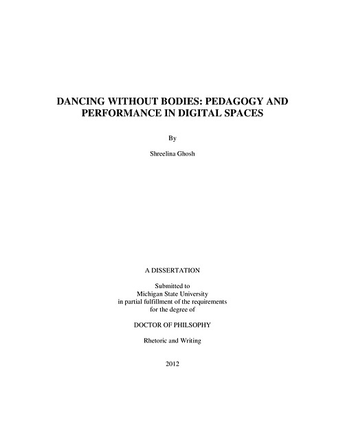 DANCING WITHOUT BODIES: PEDAGOGY AND PERFORMANCE IN DIGITAL