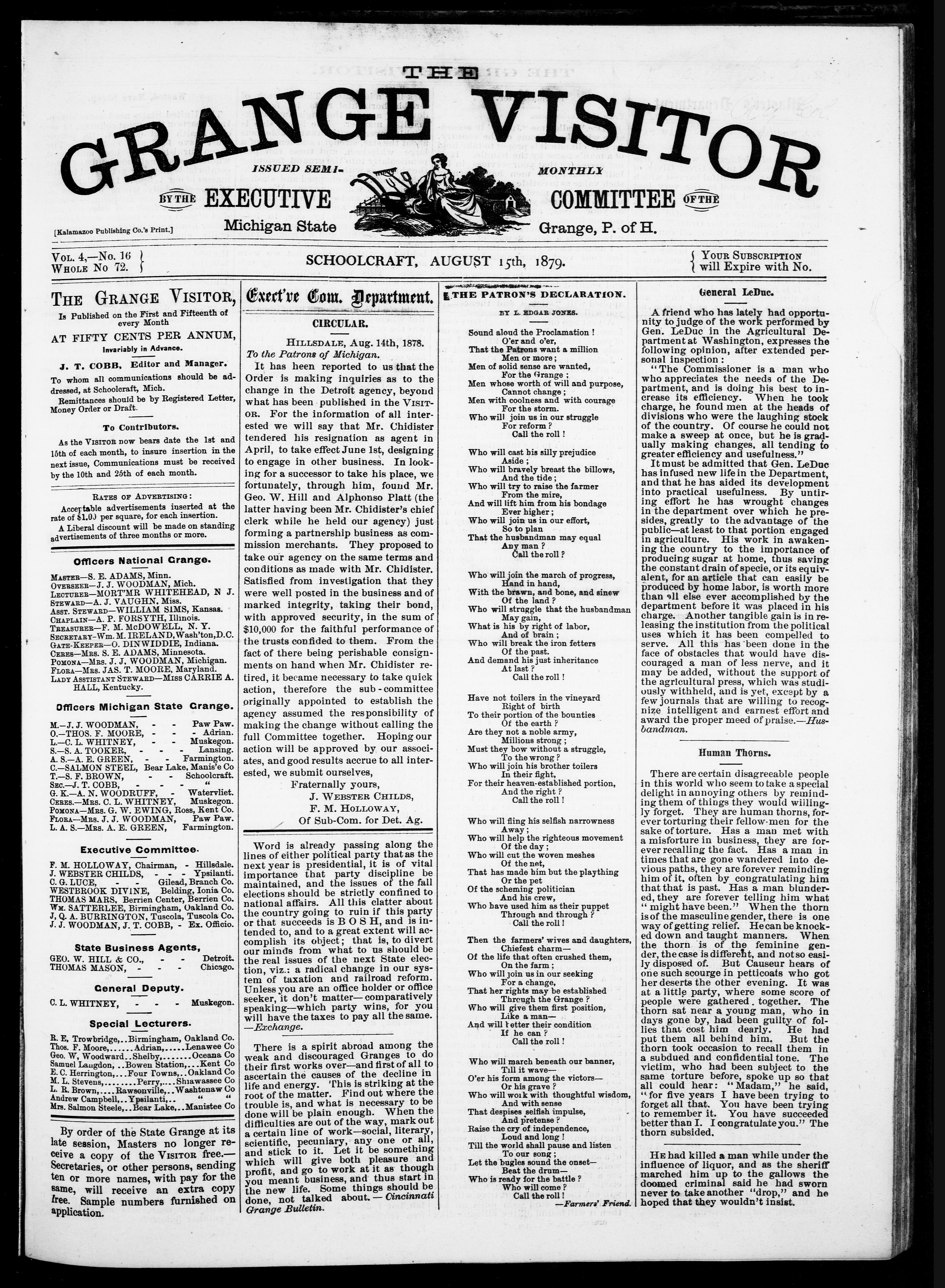 Thumbnail of Grange Visitor, August 1879