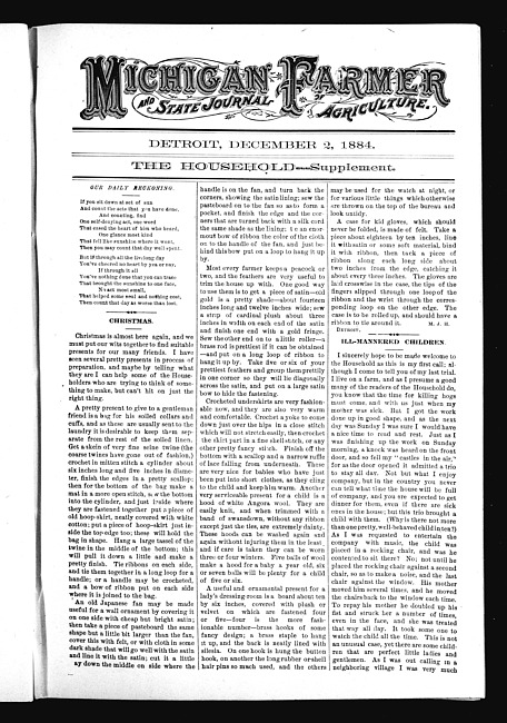 Michigan Farmer and State Journal of Agriculture - Household Supplement