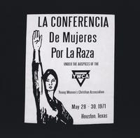"""La conferencia de mujeres por La Raza under the auspices of the YWCA t-shirt (front)."""