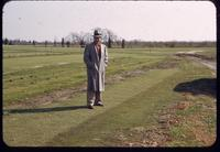 Warren Bidwell on a U-3 bermudagrass establishment plot at the Seaview Country Club, New Jersey, in 1953