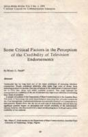 Some critical factors in the perception of the credibility of television endorsements