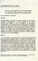 Communication as technology in African rural development