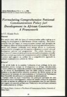 Formulating comprehensive national communication policy for development in African countries : a framework